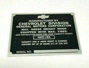 Chevy 1 2 Ton Truck Id Identification Tag Left Door Post 1947 1949 Stamped