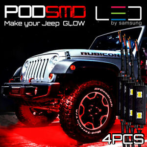 Led Rock Lights Kit Underbody Red Neon Under Car Glow For Jeep Grand Cherokee
