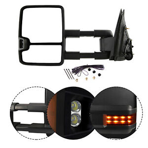 New Driver Side Power Amber Led Turn Signal Tow Mirror For Chevy Gmc Truck 03 06