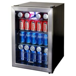 Soda Can Beverage Cooler Fridge Stainless Steel Built In Led Mini Refrigerator