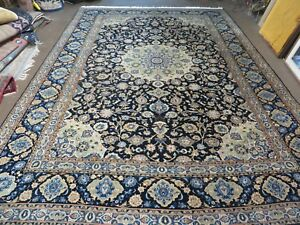 9 X 13 Hand Made Superior Persian Kashan Wool Rug High Quality Signed Blue Wow