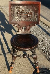 36 Antique Hand Carved 19th Century Germany Gothic Walnut Tavern Pub Bar Chair