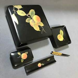 Antique Lacquerware Confectionery Toothpick Box Dish Japan Beautiful Ems F S