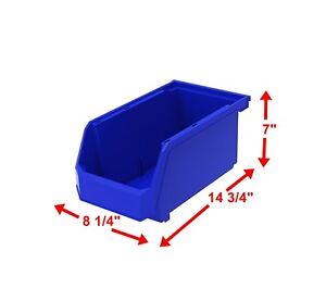 14 3 4 X 8 1 4 X 7 Plastic Inventory Storage Stacking Shelf Large Parts Bins