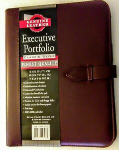 Brown Leather New Executive Portfolio Organizer Calculator 10 X 13 2005