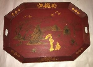 Antique Red Painted Tole Tray