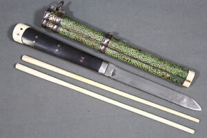 Antique Chinese Trousse Eating Set With Knife And Chopsticks China 19th