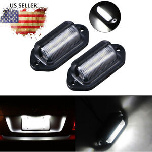 2x Universal 6 Led License Plate Tag Lights Lamps For Truck Rv Trailer Van Us