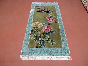 2 3 X 4 6 Vintage Hand Made Chinese Silk Rug Birds Flowers Nice Hanging Wall