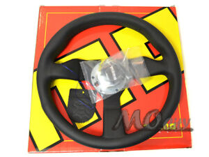 Momo 320mm Monte Carlo Steering Wheel Black Leather Black Stitch Mcl32bk1b