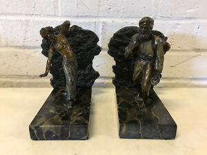 Antique Austrian Bronze Mable Bookends W Man Woman Statues Figures