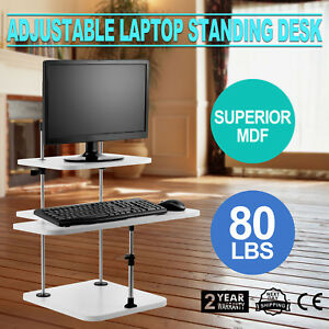 3 Tier Adjustable Computer Standing Desk Easy Install Superior Mdf Mobile Tray