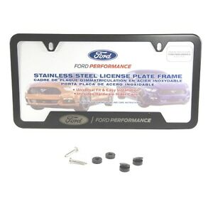 Oem New Ford Performance Black Stainless Steel License Plate Tag Frame