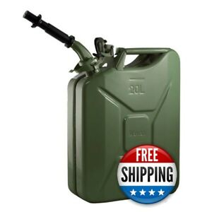 Wavian Nato 5 Gallon 20 Liter Steel Metal Jerry Fuel Gas Can Green W Nozzle
