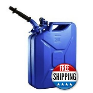 Wavian Nato 5 Gallon 20 Liter Steel Metal Jerry Fuel Gas Can Blue W Nozzle