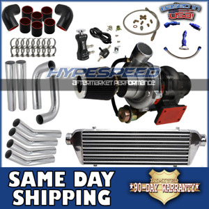 Universal T3 t4 Turbocharger Kit Intercooler piping oil Line filter bc Chrome