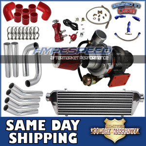 Universal T3 t4 Turbocharger Kit Intercooler piping oil Line filter bc Red