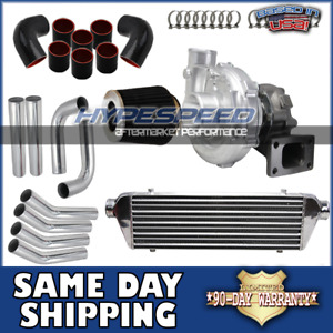 Universsal T3 t4 Turbocharger Kit Aluminum Intercooler piping filter Chrome Blk