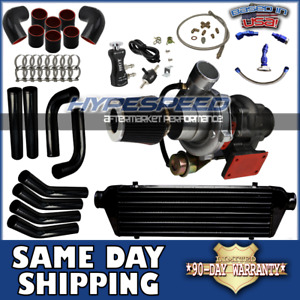 Universal T3 t4 Turbocharger Kit Intercooler piping oil Line filter bc Black Red