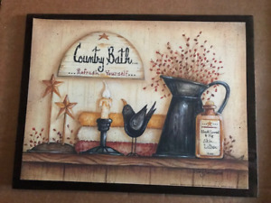 Country Bath Refresh Yourself Berries Rest Wooden Bathroom Wall Wood Decor Sign