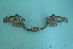 Waterfall 6 Vtg 60 S Brass French Provincial Drawer Pull Handle Original Patina