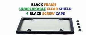 Unbreakable Clear License Plate Tag Shield Cover Black Frame 4 Screw Caps