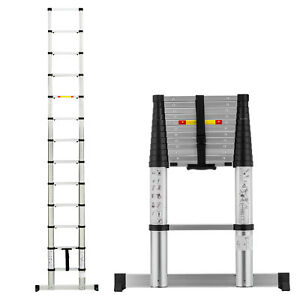 12 5ft Aluminium Automatic Step Telescopic Extension Ladder Fully Folding