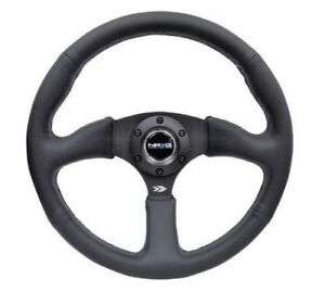 Nrg Steering Wheel Real Black Leather Black Stitch 350mm Deep Dish Rst 023mb R