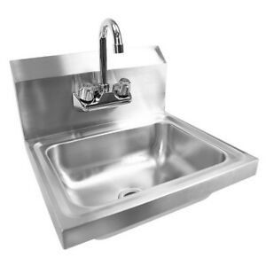17 New Commercial Kitchen Stainless Steel Wall Mount Hand Sink With Side Splash