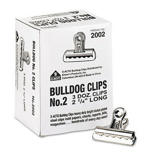 X acto 2002 Bulldog Clips 1 2 Capacity 2 1 4 w Nickel plated Lot Of 100