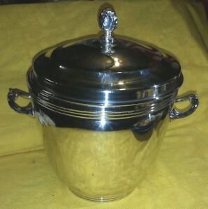 Sheffield Silver Co Silverplate Ice Bucket Thermos Glass Lining W Tongs Box