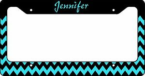 Personalized License Plate Frame Custom Car Tag Teal And Black Chevron