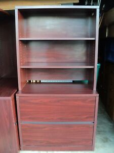2 Drawer 36 Lateral Filing Cabinet W 14 Deep Hutch Top Mahogany cherry Finish