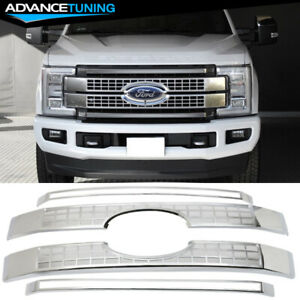 Fits 17 18 Ford F250 F350 F450 F550 Superduty Platinum Style Grille Chrome