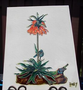 Vintage Art Pottery Hand Painted Ceramic Tile Signed By H Way