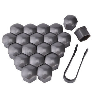20pcs Wheel Lug Nut Center Cover Grey 21mm Bolt Cap Dust Cover Removal Tool