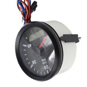 Marine Boat Tachometer Lcd Hour Meter Tacho Rpm Gauge 12 24v 0 4000 W Wire New