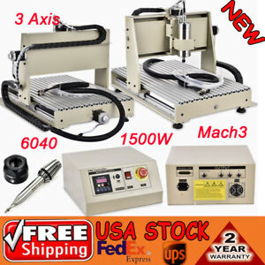 3 Axis Cnc 6040 1 5kw Vfd Router Engraver Drill Mill Machine 3d Cutter Spindle