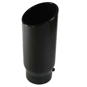 5 Inlet 6 Outlet 15 Inch Long Black Exhaust Tip Rolled End Angle Cut Tail Pipe