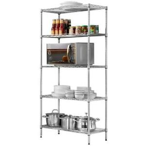 5 Tier Wire Steel Shelving Rack Heavy Duty 73 x36 x14 Chrome Shelf Adjustable