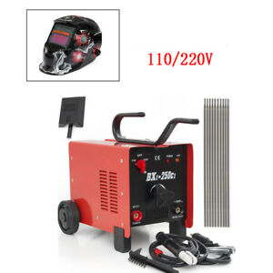 250amp Welder Ac Arc Welding Machine Weld Set W Helmet Accessories Red 110 220v