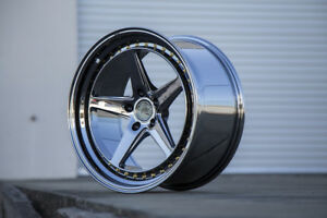 Aodhan Ds05 18x8 5 18x9 5 35 5x100 Black Vacuum Chrome Staggered set Of 4