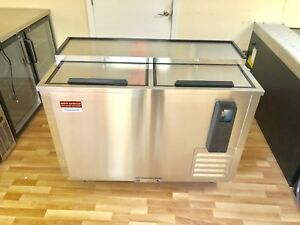 50 Bottle Cooler Stainless Beer Refrigerator 4 2 Back Bar Slide Top 2 Door