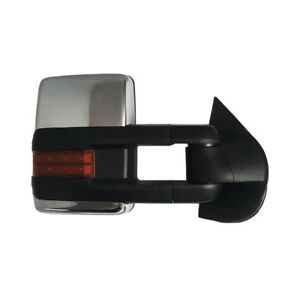 New Passenger Right Power Amber Signal Tow Mirror Chrome For Chevy Gmc 2007 2013
