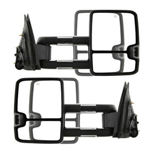 New Set Of 2 Power Amber Turn Signal Tow Mirrors Black For Chevy Gmc Truck 07 13