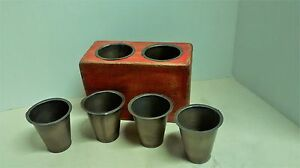 6 Primitive Sugar Mold Brass Colored Tin Replacement Candle Cups
