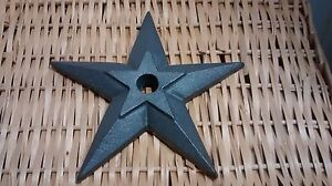 1 Cast Iron Double Puffed Candle Star Size 5 3 4 With A 7 8 Hole