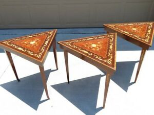 Three Lovely Hollywood Regency Reuge Stacking Tables With Music Boxes