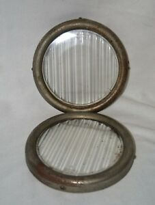 Vintage Ford H Headlight 2 Lens 8 Glass With Original 9 Bezel