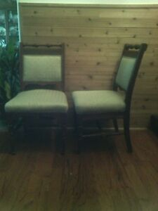 Vintage Antique Victorian Parlor Chairs Solid Carved Wood